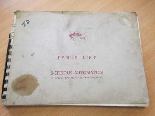 Wickman Parts List For 5-Spindle Automatics