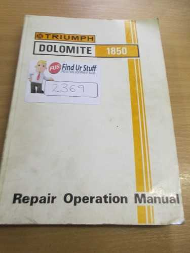 Triumph Dolomite 1850 Repair Operation Manual