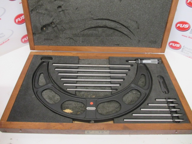 "Starrett No.224 6-12"" Micrometer - Good Condition In Box"
